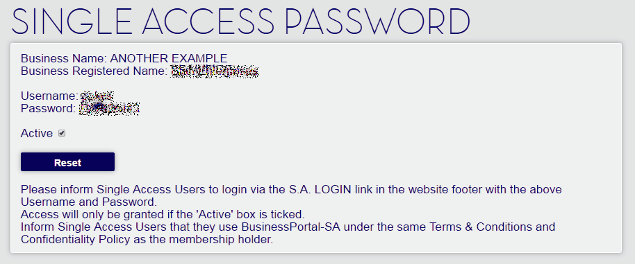 Single Access Password